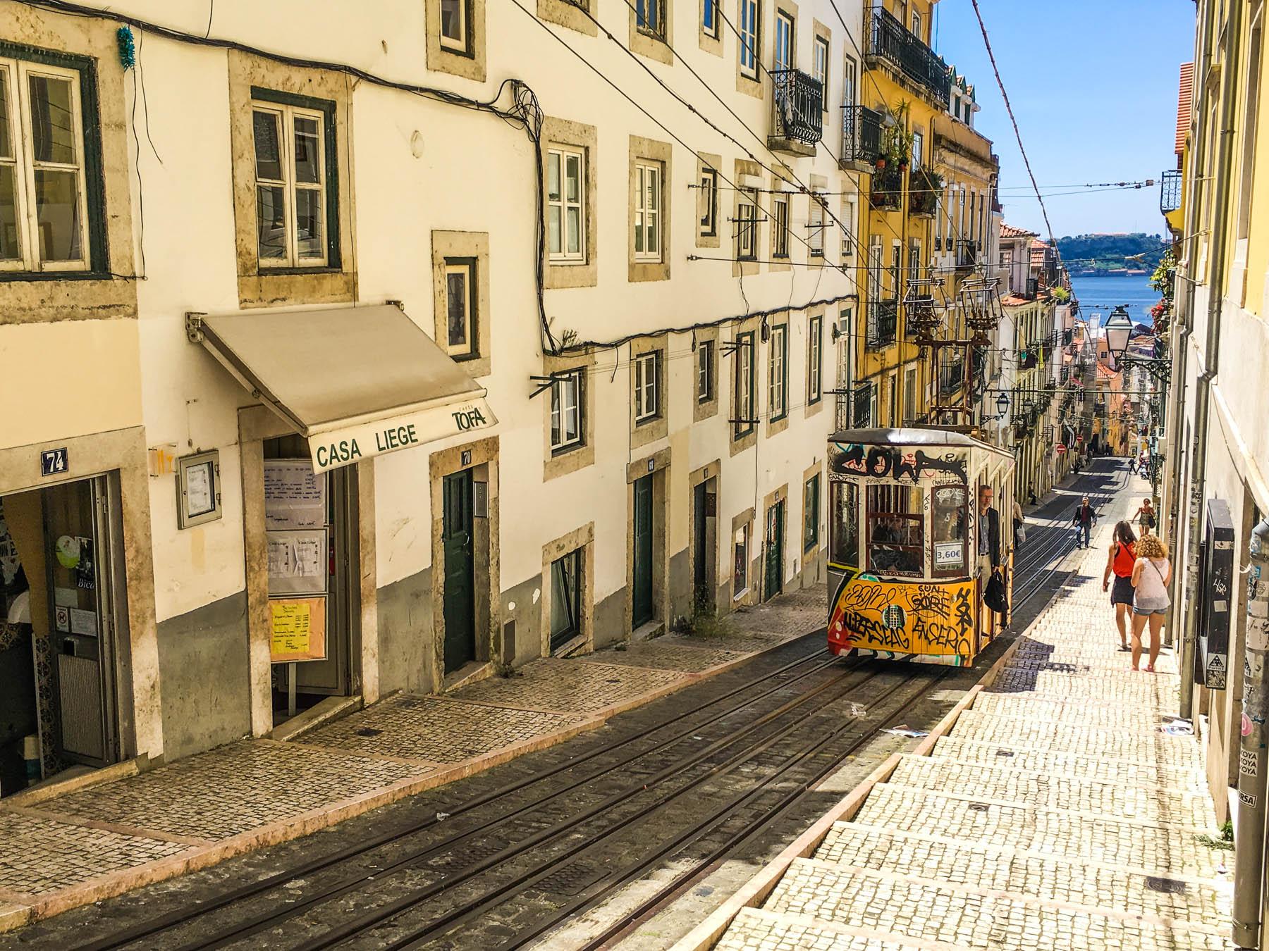 lizbona tramwaj uliczka w lizbonie