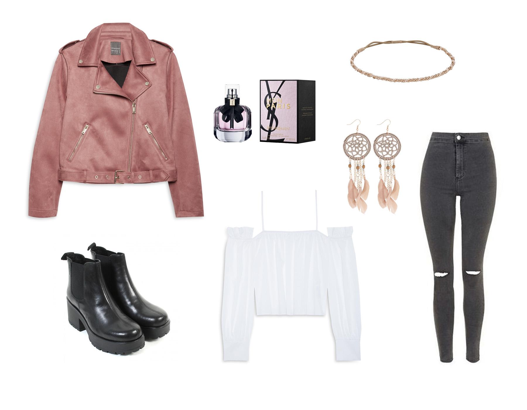 stylizacja wiosenna, primark, pudrowa ramoneska, różowa ramoneska, spodnie zara, botki vagabond